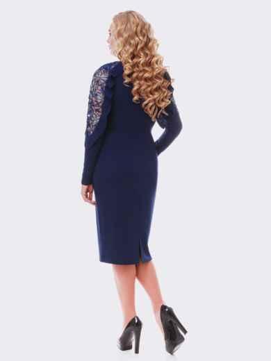 Синее платье с воланами и гипюром на рукаве - 19107, фото 2 – интернет-магазин Dressa