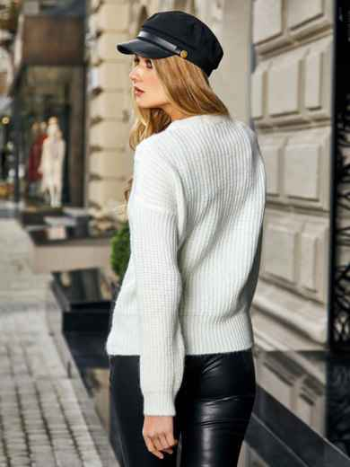 Свитер с геометрической вязкой белый - 41970, фото 2 – интернет-магазин Dressa