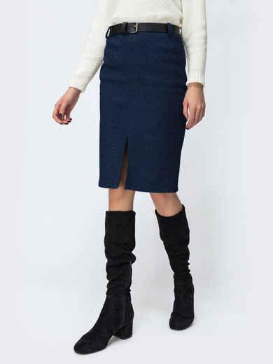 Тёмно-синяя юбка с разрезом спереди 53463, фото 1