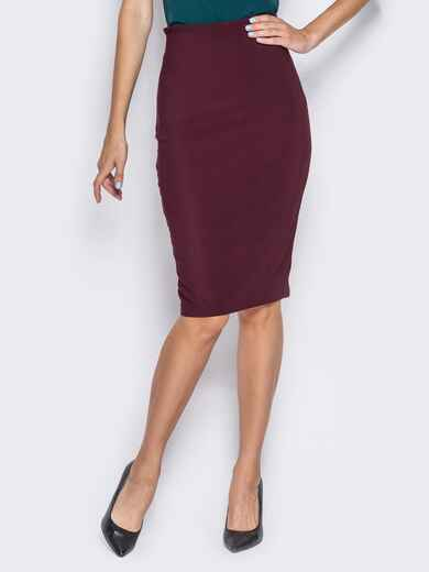 Трикотажная юбка-карандаш с декоративной молнией бордовая - 14371, фото 1 – интернет-магазин Dressa