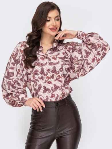 Бордовая блузка с принтом и объемными рукавами 51915, фото 1