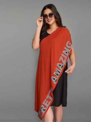 Асимметричное платье большого размера с контрастными вставками терракотовое 49283, фото 2