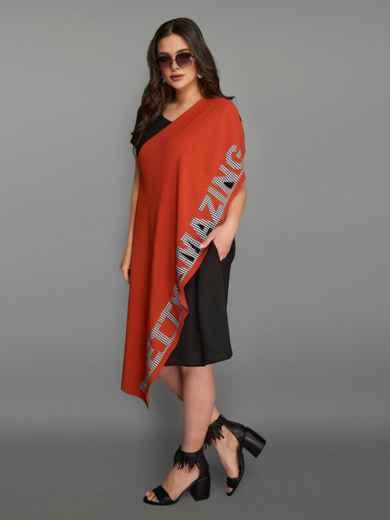 Асимметричное платье большого размера с контрастными вставками терракотовое 49283, фото 3