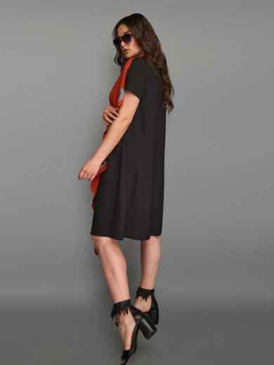 Асимметричное платье большого размера с контрастными вставками терракотовое 49283, фото 4