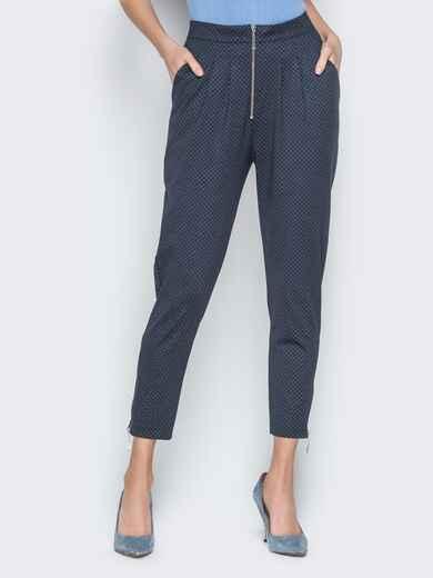 Чёрные брюки в мелкую клетку с высокой посадкой - 19659, фото 1 – интернет-магазин Dressa