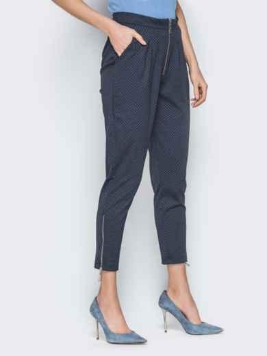 Чёрные брюки в мелкую клетку с высокой посадкой - 19659, фото 2 – интернет-магазин Dressa
