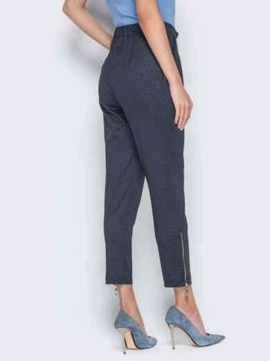 Чёрные брюки в мелкую клетку с высокой посадкой - 19659, фото 3 – интернет-магазин Dressa