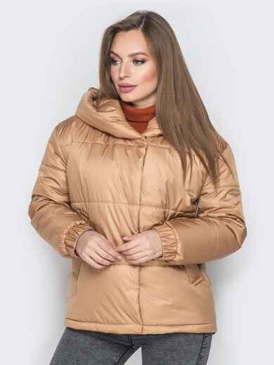 Короткая куртка со вшитым капюшоном бежевая - 20084, фото 1 – интернет-магазин Dressa