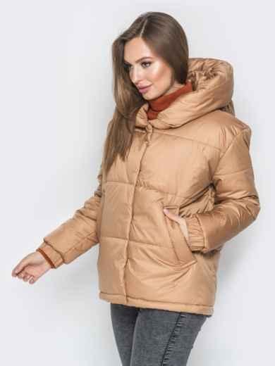 Короткая куртка со вшитым капюшоном бежевая - 20084, фото 2 – интернет-магазин Dressa