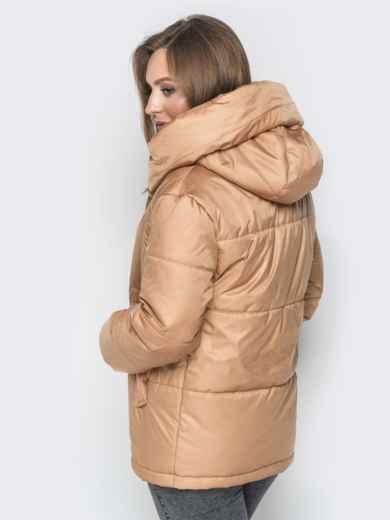 Короткая куртка со вшитым капюшоном бежевая - 20084, фото 3 – интернет-магазин Dressa