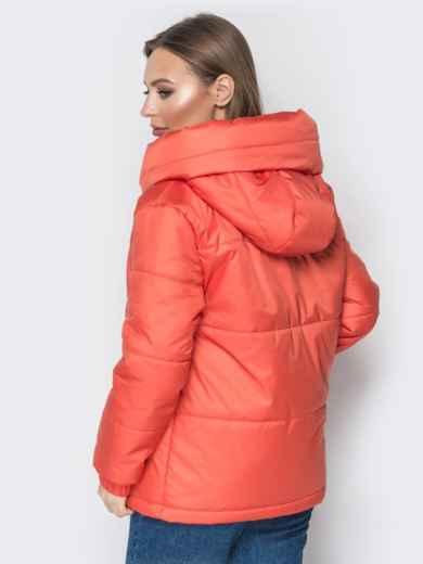 Короткая куртка со вшитым капюшоном коралловая 20085, фото 2