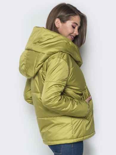 Короткая куртка со вшитым капюшоном зелёная - 20086, фото 2 – интернет-магазин Dressa