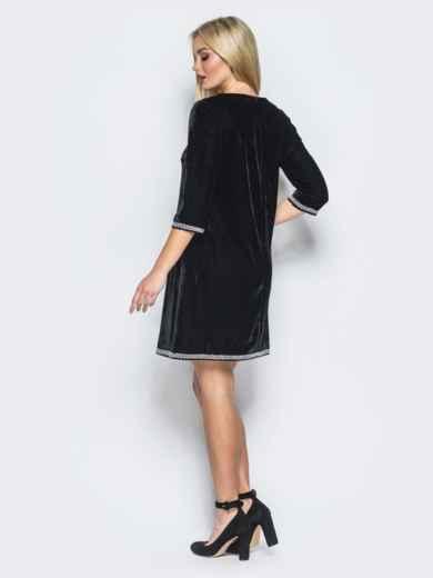 Платье А-силуэта из велюра черное - 18156, фото 2 – интернет-магазин Dressa