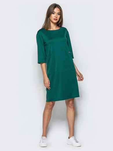 Платье прямого кроя с накладными карманами зеленое - 16273, фото 1 – интернет-магазин Dressa