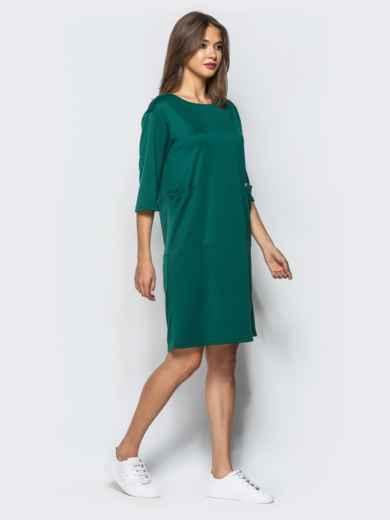 Платье прямого кроя с накладными карманами зеленое - 16273, фото 2 – интернет-магазин Dressa