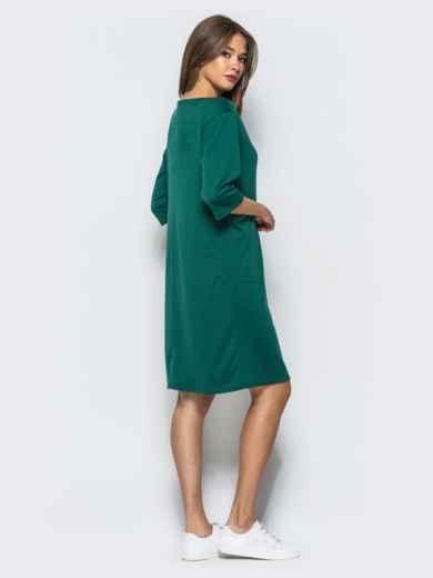 Платье прямого кроя с накладными карманами зеленое - 16273, фото 3 – интернет-магазин Dressa
