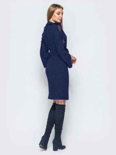 Платье тёмно-синего цвета с функциональными пуговицами на лампасах - 17348, фото 2 – интернет-магазин Dressa