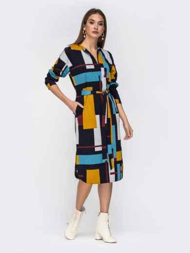 Принтованное платье-миди с V-вырезом 42219, фото 2