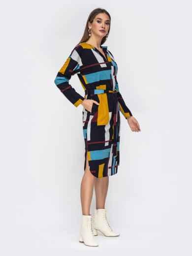 Принтованное платье-миди с V-вырезом 42219, фото 3