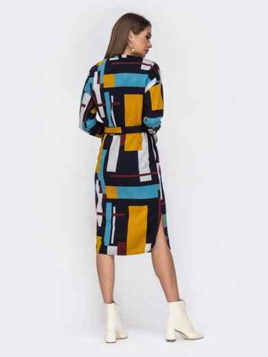 Принтованное платье-миди с V-вырезом 42219, фото 4