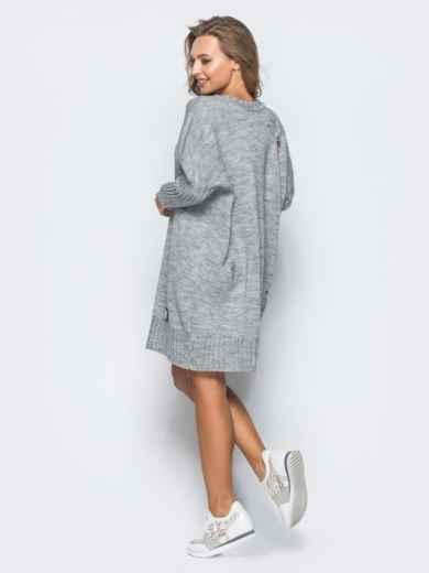 Серое вязаное платье с перфорацией и резинкой на рукавах - 17074, фото 4 – интернет-магазин Dressa
