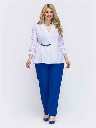 Синий комплект батал с белой блузкой 46021, фото 1