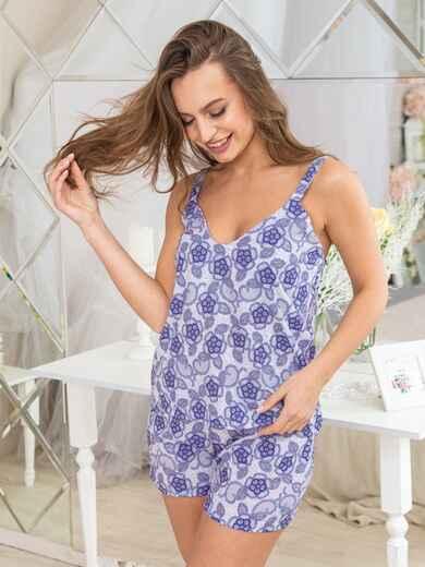 Сиреневая принтованная пижама из топа и шорт - 20425, фото 1 – интернет-магазин Dressa