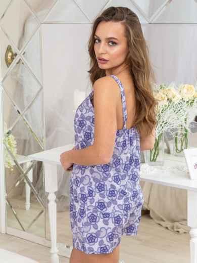 Сиреневая принтованная пижама из топа и шорт - 20425, фото 2 – интернет-магазин Dressa