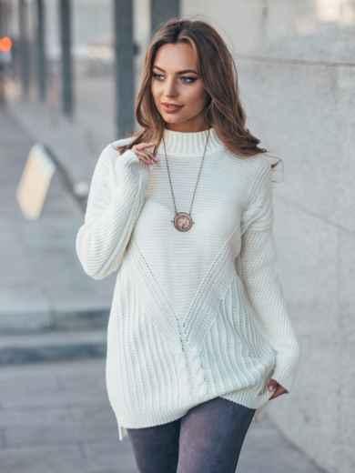 Удлиненный белый свитер ажурной вязки - 17091, фото 1 – интернет-магазин Dressa