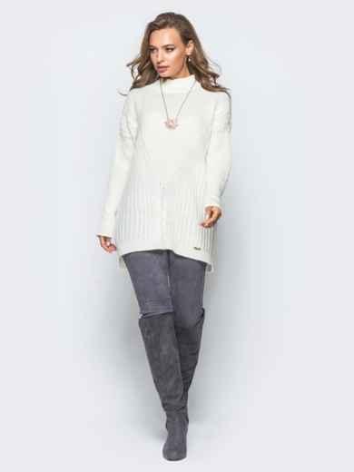 Удлиненный белый свитер ажурной вязки - 17091, фото 2 – интернет-магазин Dressa