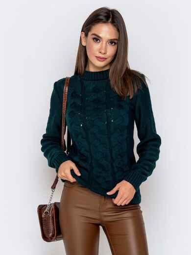 """Зеленый свитер с узором """"косы"""" - 41070, фото 1 – интернет-магазин Dressa"""