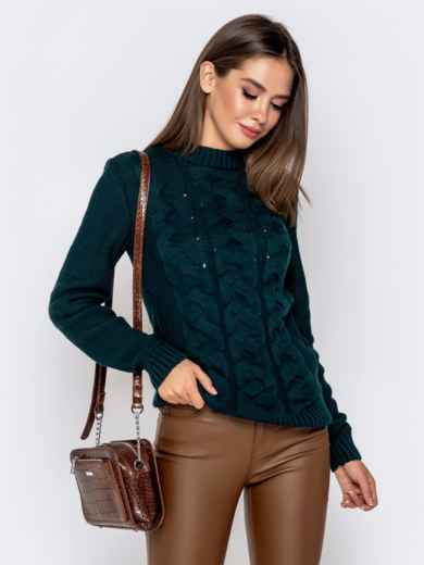 """Зеленый свитер с узором """"косы"""" - 41070, фото 2 – интернет-магазин Dressa"""