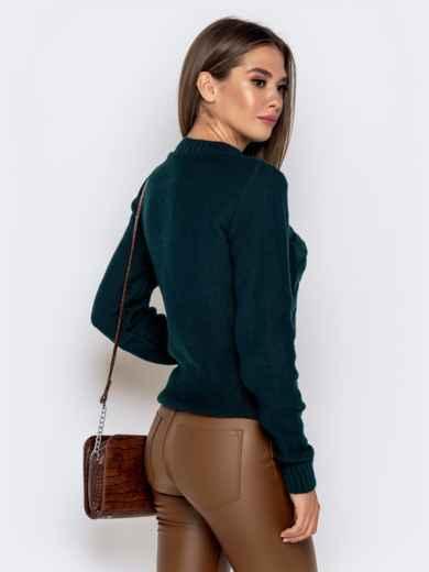 """Зеленый свитер с узором """"косы"""" - 41070, фото 3 – интернет-магазин Dressa"""