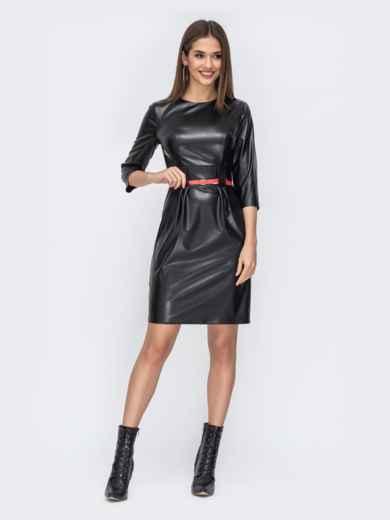 Чёрное платье из эко-кожи с разрезом сзади 44244, фото 1