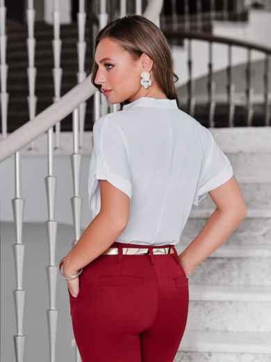 Блузка белого цвета с накладными карманами - 40099, фото 2 – интернет-магазин Dressa