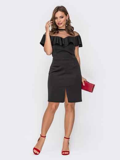 Черное платье-футляр с воланом по кокетки 52294, фото 1