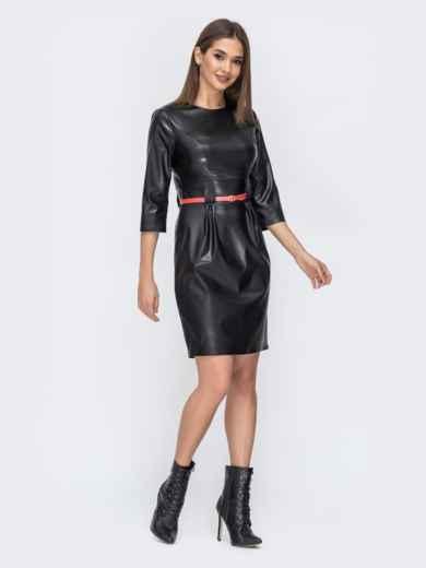 Чёрное платье из эко-кожи с разрезом сзади 44244, фото 2