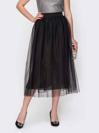Двухслойная юбка-миди расклешенного кроя черная 52295, фото 1
