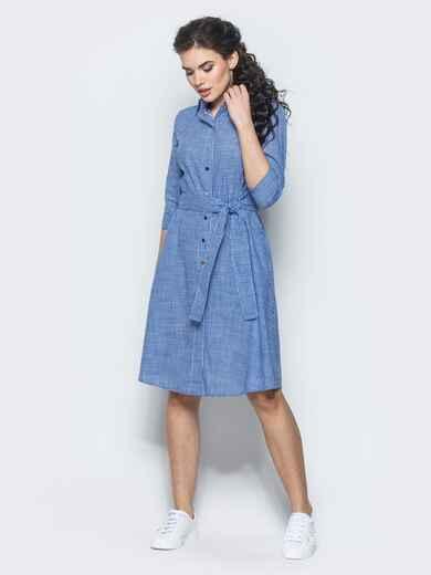 Хлопковое платье-рубашка в клетку тёмно-синее - 12464, фото 1 – интернет-магазин Dressa