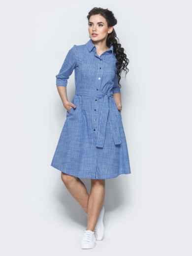 Хлопковое платье-рубашка в клетку тёмно-синее - 12464, фото 2 – интернет-магазин Dressa