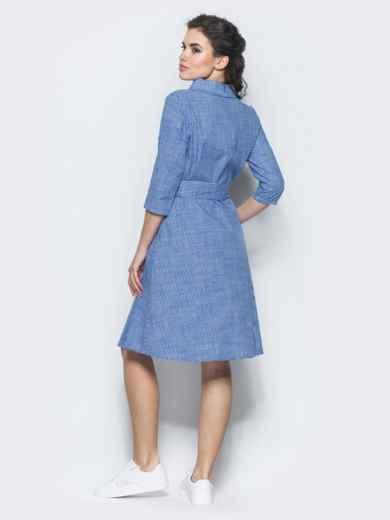 Хлопковое платье-рубашка в клетку тёмно-синее - 12464, фото 3 – интернет-магазин Dressa