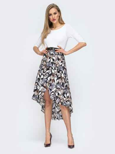 Комбинированное платье с принтом на юбке белое 45545, фото 1