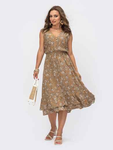 Коричневое платье с V-образным вырезом и эластичным поясом 54086, фото 1