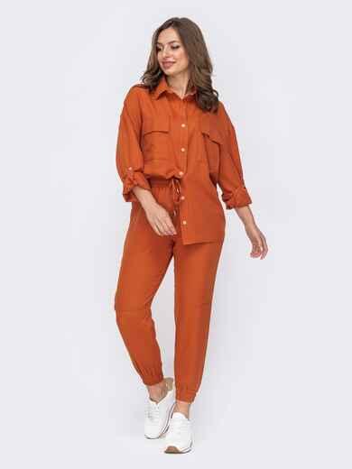 Оранжевый костюм с брюками на резинке и рубашкой 53536, фото 1