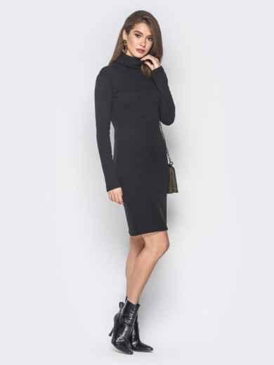 Платье-гольф черного цвета из ангоры - 18680, фото 2 – интернет-магазин Dressa