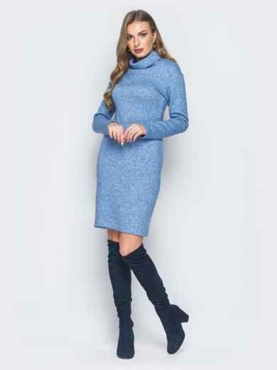 Платье-гольф голубого цвета из ангоры - 18682, фото 2 – интернет-магазин Dressa