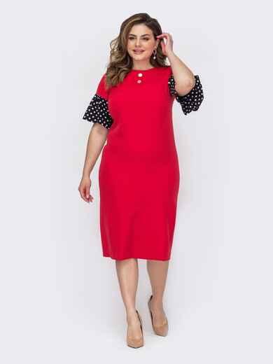 Приталенное платье батал с воланами на рукавах красное 53624, фото 1