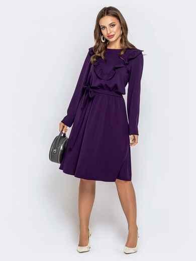 Приталенное платье фиолетового цвета с рюшами 40647, фото 1