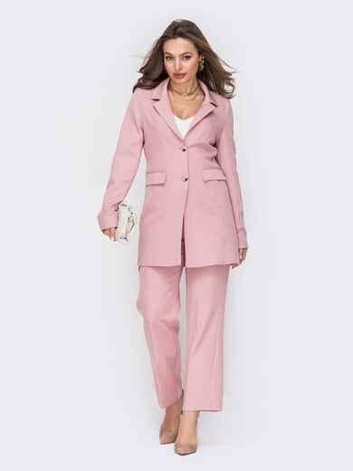 Пудровый костюм с удлиненным жакетом и брюками на молнии 53535, фото 1