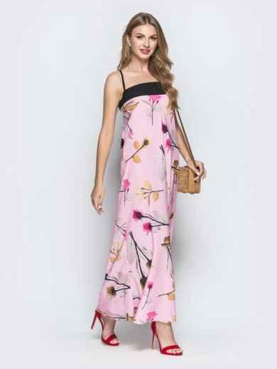 Розовое платье-макси с принтом и контрастным лифом - 39188, фото 2 – интернет-магазин Dressa
